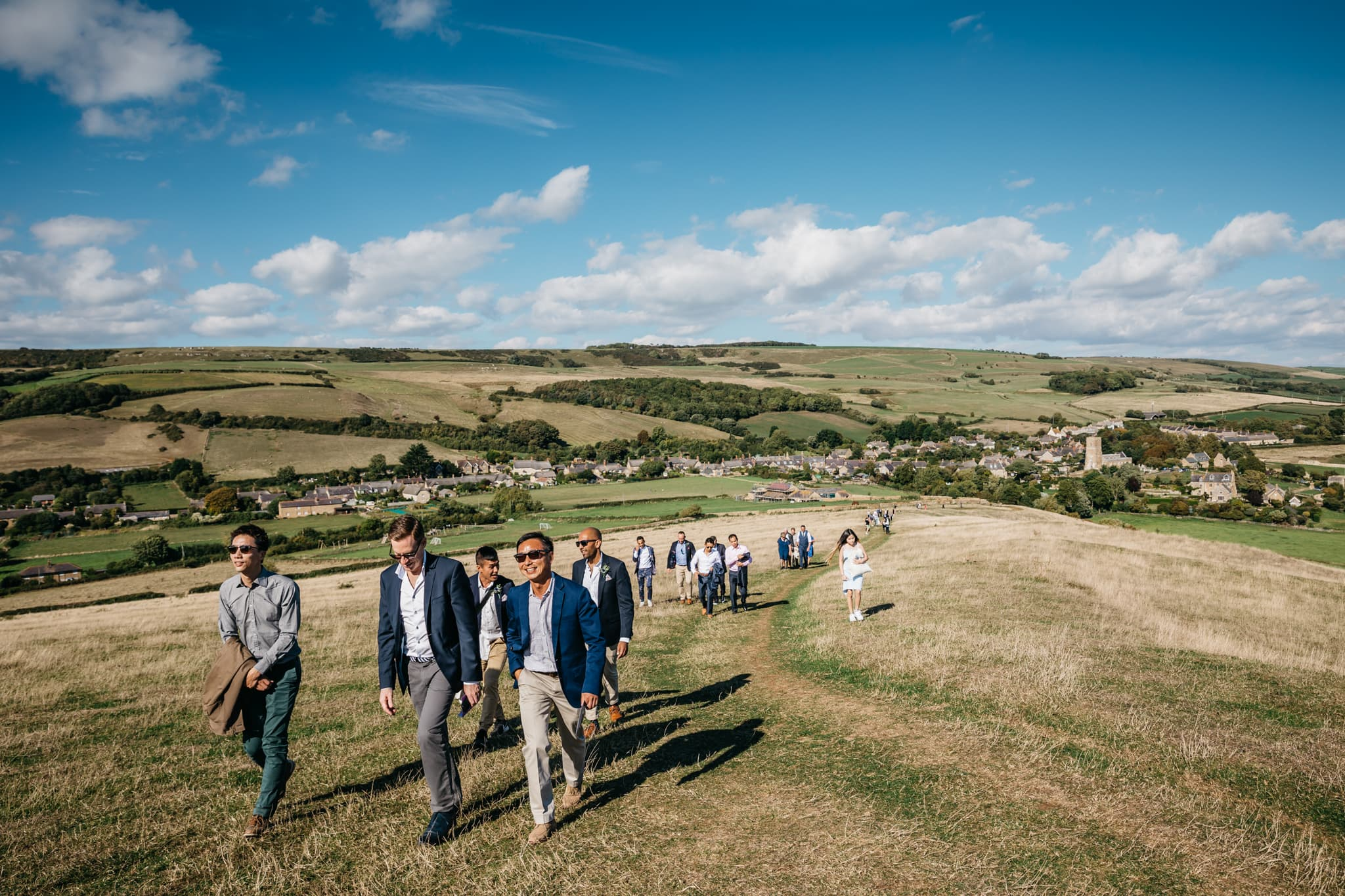 Ascent to wedding at St Catherine's Chapel in Abbotsbury