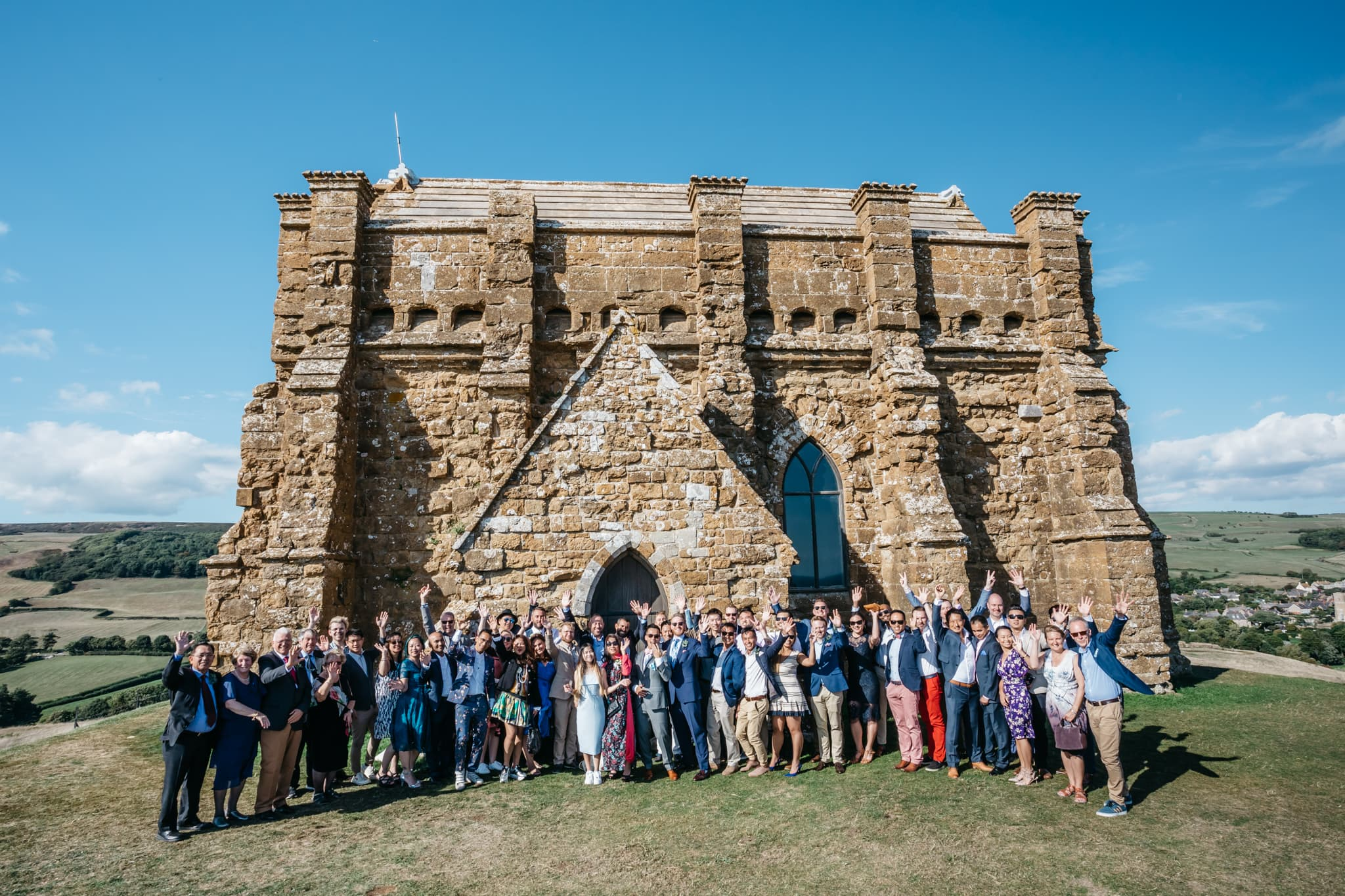 Wedding party at St Catherine's Chapel in Abbotsbury