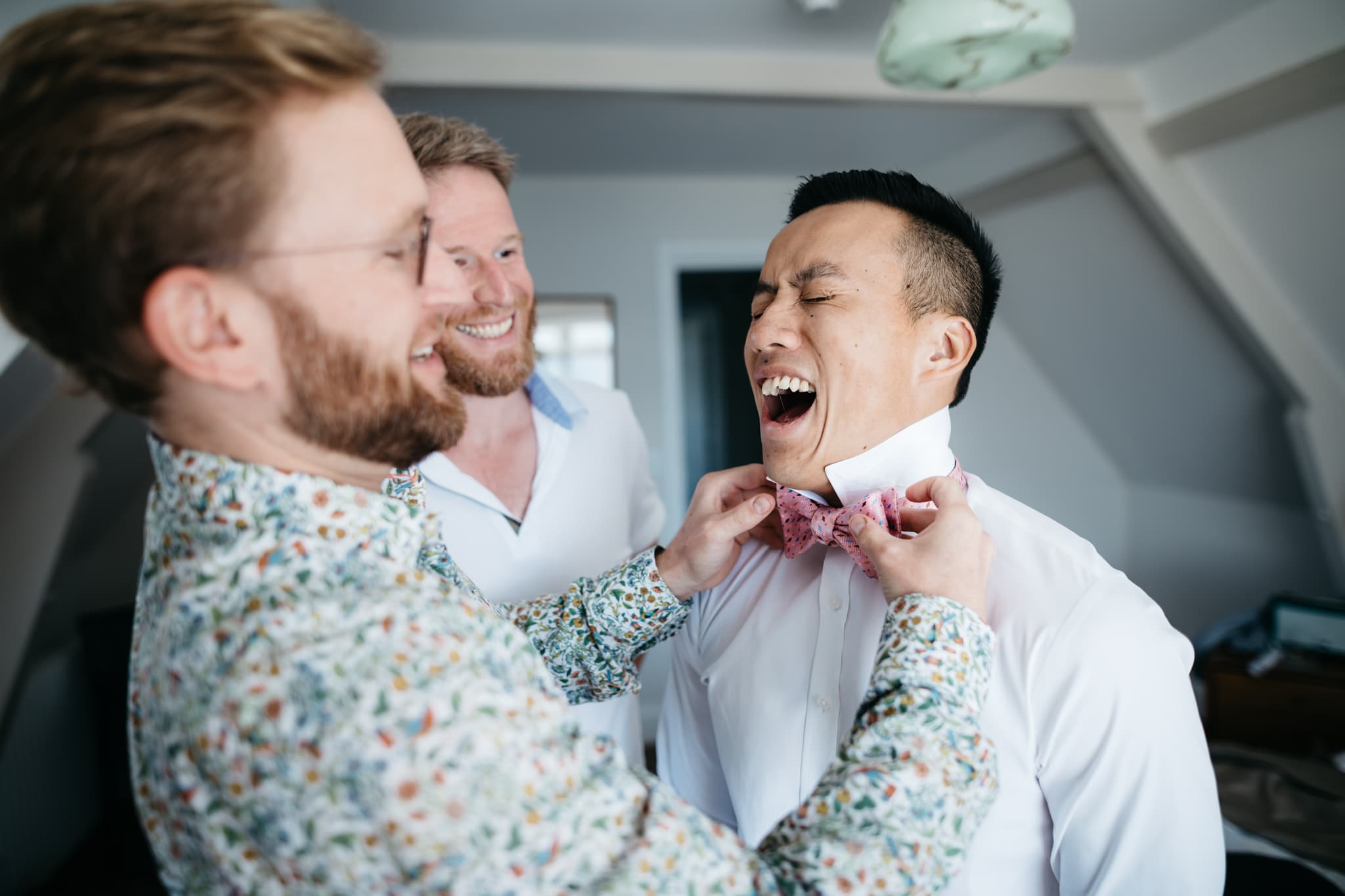 Gay couple getting ready for their wedding