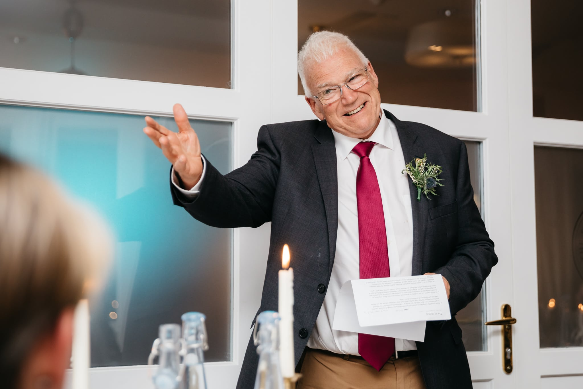 Father of groom giving speech