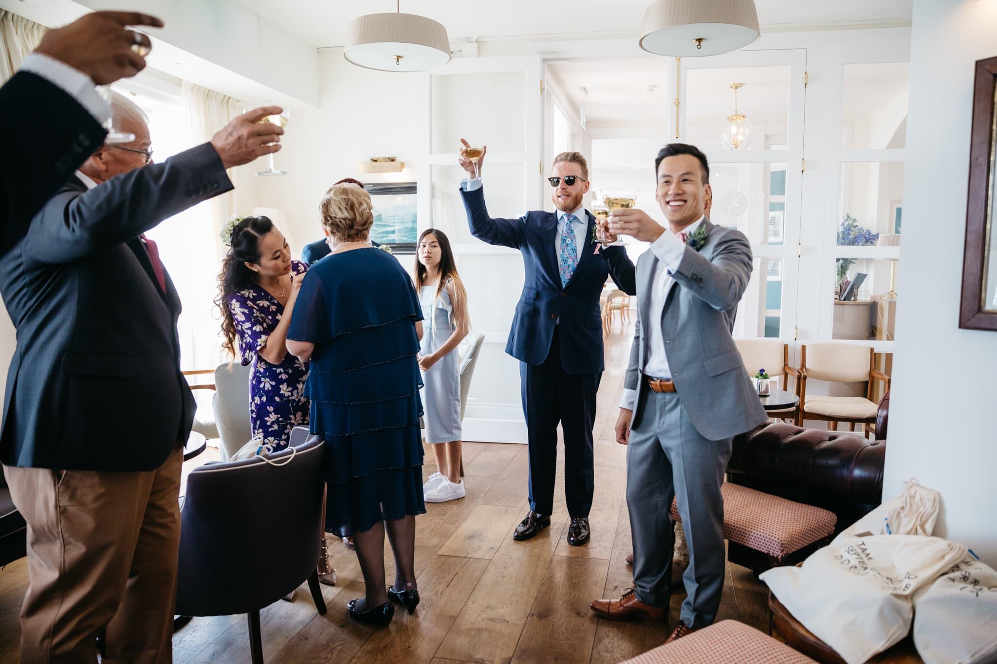 Same sex couple celebrating their wedding